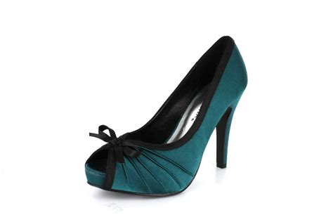 new teal satin peep toe high heels pumps shoes
