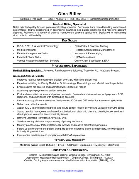 Insurance Claims Specialist Cover Letter by Billing Resume Exles Sles Resume For Insurance Claims Specialist