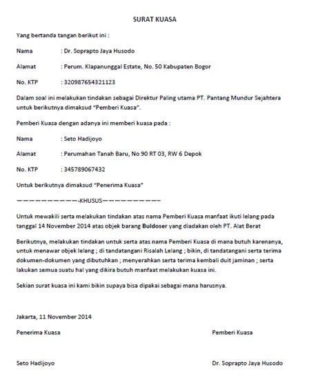 Contoh Surat Kuasa Buatan Tangan by Surat Kuasa Lengkap Untuk Berbagai Keperluan Seruni Id