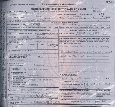 Birth Records Massachusetts Massachusetts Certificate For Caroline Richter Family Stories