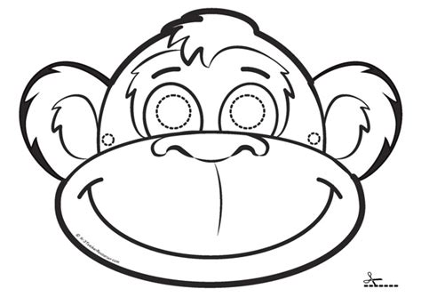 printable monkey mask template monkey mask coloring coloring pages