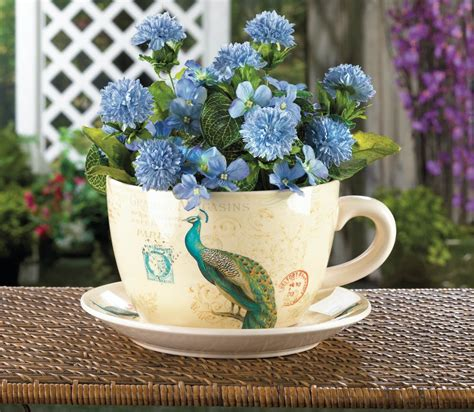 Teacup Planter by Charming Peacock Teacup Planter With Dish Flowers Herbs