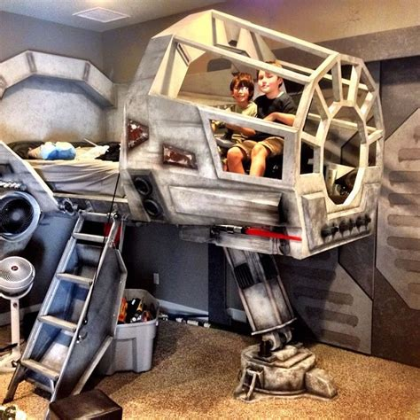 at at bed designer creates millennium falcon cockpit bed for his son