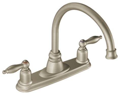 moen castleby stainless two handle high arc kitchen faucet