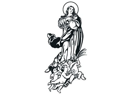 Tree Silhouette Wall Sticker virgin mary immaculate conception wall decal christian vinyl