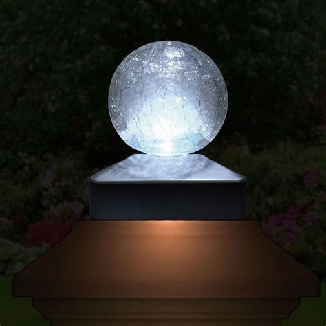 Solar Crackle Glass Ball Garden Post Deck Cap Light Square Solar Cap Lights