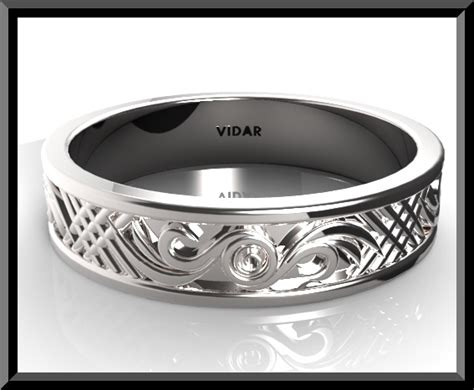 unique mens wedding bands white gold vidar jewelry