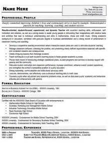 Resume Templates Teachers by Nagaiiee Free Resume Sles For Teachers