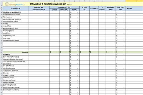 house renovation spreadsheet template home renovation budget excel spreadsheet how to plan for