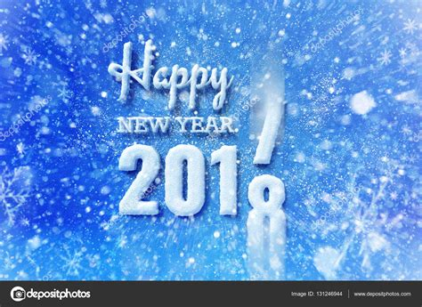 new year stock new year 2018 text with snow effect stock photo