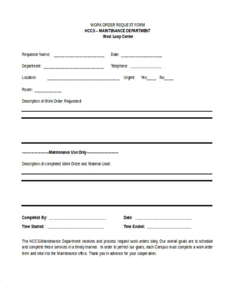 work request form maintenance work request form sle