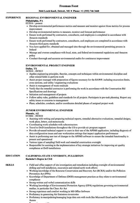 engineer environmental resume sles velvet