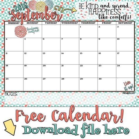 September Kalender 2016 September 2016 Calendar There Is Confetti Everywhere