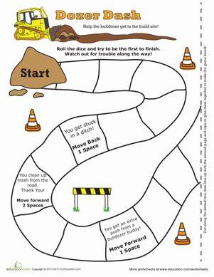 printable board games first grade bulldozer game worksheet education com