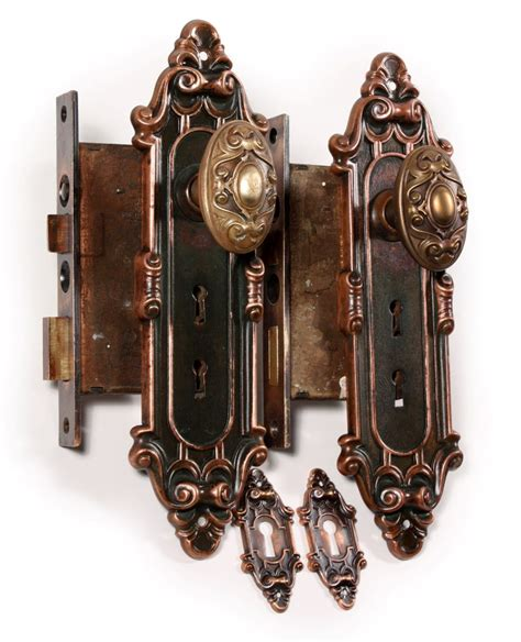 Antique Exterior Door Hardware Two Matching Antique Bronze Entry Door Hardware Sets Meridian By Yale Towne C 1910