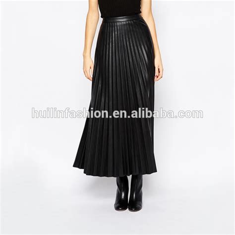 fashion shiny pleated faux leather skirt tight