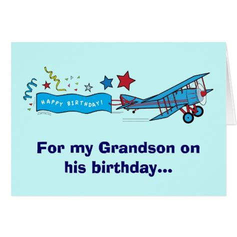 Grandson Birthday Wishes Greeting Cards Happy Birthday Grandson Airplane Greeting Card Zazzle