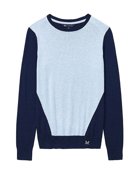 Jumper Colour S Colour Block Jumper In Navy Classic Blue From Crew