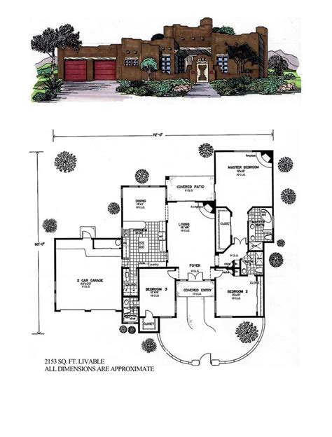 santa fe house plans santa fe southwest house plan 54614