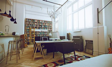 white studio apartments home library interior design ideas
