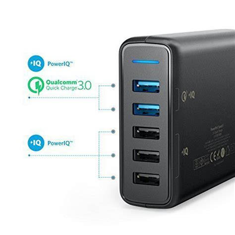 Anker Powerport Speed 5 Wall Charger Powerline Micro Usb 3ft Black anker charge 3 0 63w 5 port us uk eu usb wall charger poweriq powerport speed 5 for