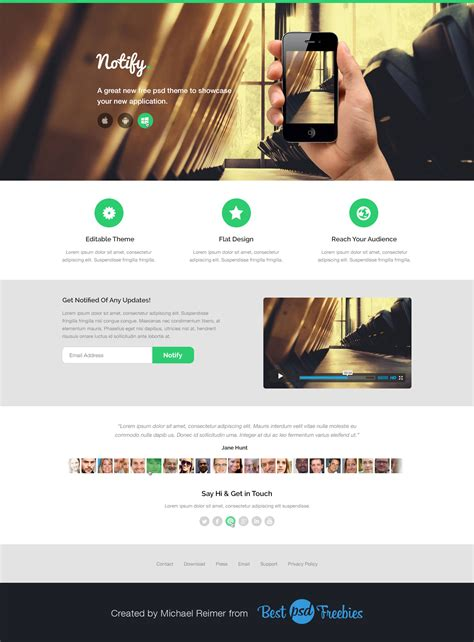 free notify theme psd template