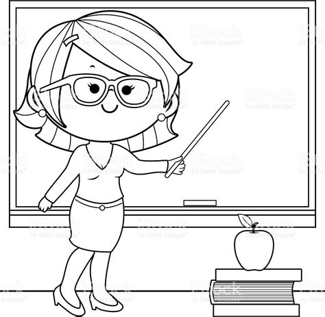 coloring pages for art class teacher teaching at class coloring book page stock vector