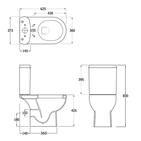size of toilet lily close coupled toilet inc soft close seat ec1003