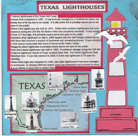 texas lighthouses map texas lighthouses 1 pg scrapbook layouts lighthouses layout and galleries