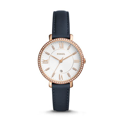 Fossil Es3843 Jacqueline Navy Leather jacqueline three date navy leather fossil