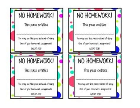homework pass template the world s catalog of ideas