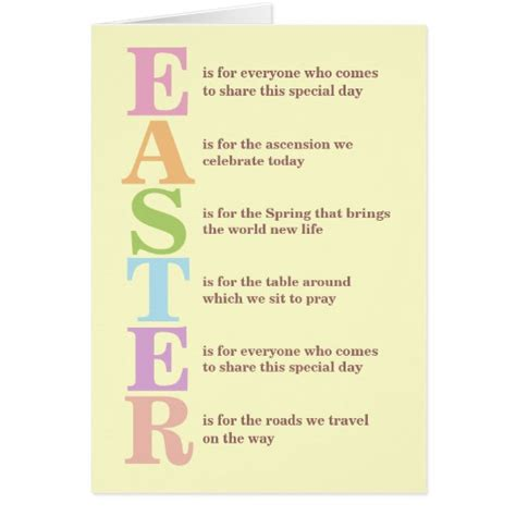 Easter Poems For Cards easter poem greeting card zazzle
