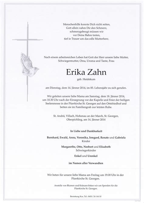 Verstorbene R Frau Erika Zahn Trauerhilfe Bestattungs Gesmbh