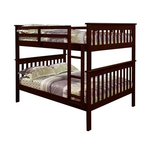solid wood bunk bed solid wood full over full bunk bed in cappuccino finish