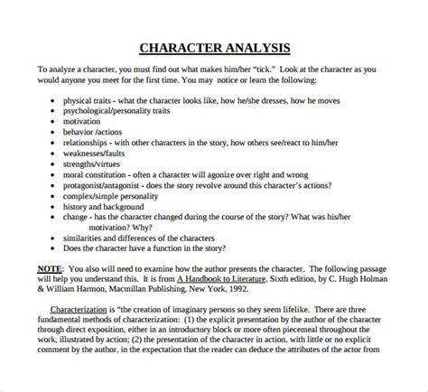 character sketch template sle character analysis template 8 free documents in