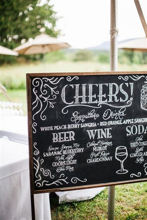 brilliant wedding drink station sign ideas