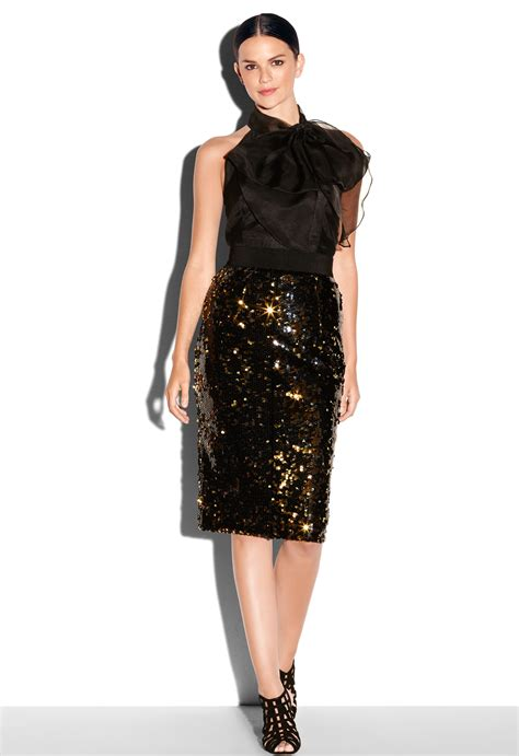 milly sequin midi pencil skirt in gold lyst
