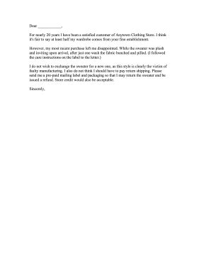 repeat customer clothing complaint letter
