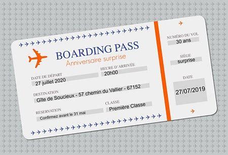 Kupon Souvenir Model Air Mail carte d invitation anniversaire billet d avion popcarte