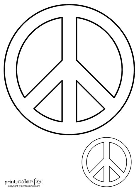 Peace Sign Coloring Page Print Color Fun Peace Sign Template