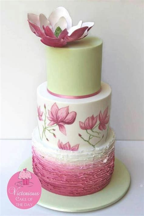 wedding cake of the day pink ombr flower wedding cake sage green wedding cake with pink ombr 233 ruffles hand