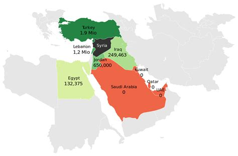 refugees of the syrian civil war wikipedia file syrian refugees in the middle east map en svg