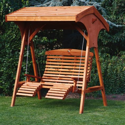 Afk Roofed Comfort Wooden Garden Swing Seat Uk