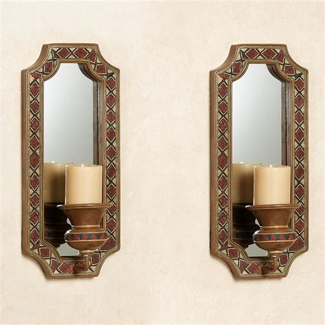 Mirrored Wall Sconces For Candles Tribal Spirit Southwest Mirrored Wall Sconce Pair