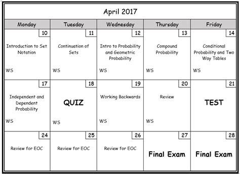 Cobbk12 Calendar Honors Geometry Probability