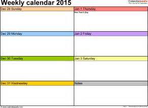 Two Week Calendar Template Free by Weekly Calendar 2015 For Pdf 12 Free Printable Templates