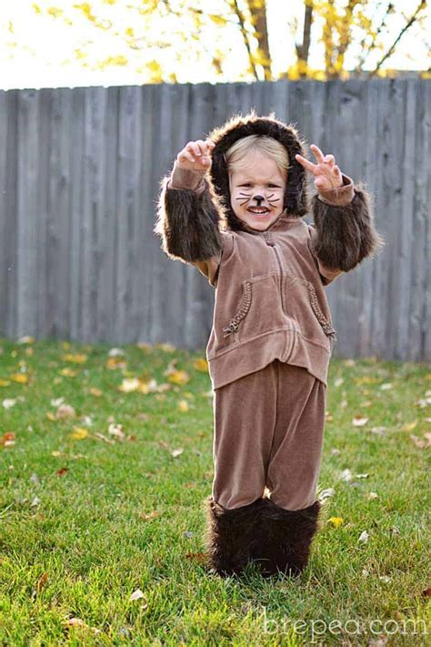 diy frugal furry animal halloween costume  kids bre pea