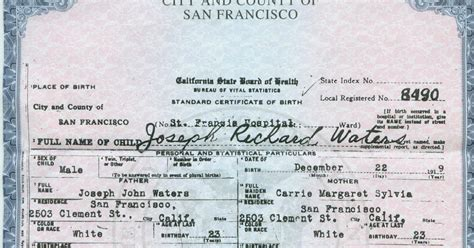 Vital Records Order Birth Certificate San Francisco County Birth Certificate Get Vital Record Birth Certificate