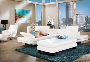 Room To Go Shop For A Shiloh White 3 Pc Blended Leather Sectional