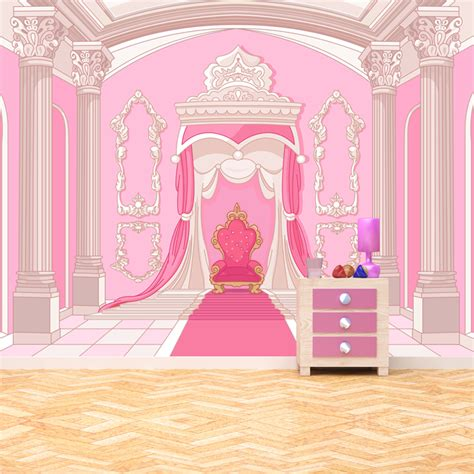 Disney Princess Castle Wall Stickers princess throne wall mural pink fairytale photo wallpaper